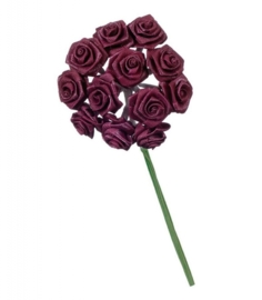 6547 192- 12 stuks roosjes van 10cm lang en 1.5cm breed bordeaux