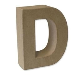 1929 3104- stevige decoratie letter van papier mache - 3D letter D