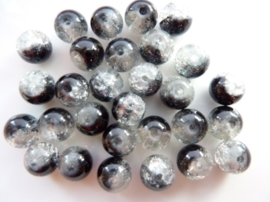 4068- 30 x qraccle glaskralen rond 8mm gevlekt zwart - SUPERLAGE PRIJS!
