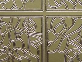 st101- inkleur sticker met bloemen goud 10x20cm
