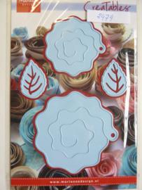 0002474- Marianne Design Creatables stencil nr.162 vouwbloemen met blaadjes OPRUIMING