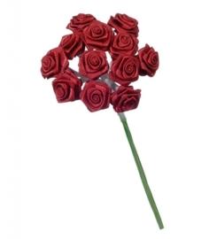 6547 180- 12 stuks roosjes van 10cm lang en 1.5cm breed donkerrood