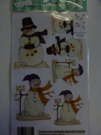 005006.E- Rub-on transfer sneeuwpoppen met glitter 24x14cm OPRUIMING