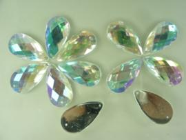 12 stuks kunststof strass stenen druppelvorm opnaaibaar 29 x 16 mm. zilver AB