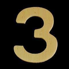 8735 637- 4cm houten cijfer 3