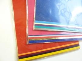 003044- 8 velletjes zelfklevende stickerfolie kleurenmix A4+A5 OPRUIMING