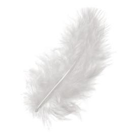 006619 002- 15 stuks maraboe veren wit van 10cm