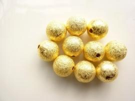 CH.249NFG.10- 10 stuks metalen stardust kralen 12mm goudkleur