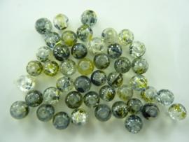 5002- 45 stuks qraccle glaskralen van 6mm zwart met een vleugje groengeel