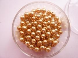 100 x ronde glasparels in een doosje 4mm goud  -  2219 574