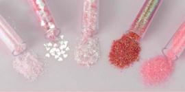 CE801515/8603- 5 buisjes glitter decoratie assortiment blossom