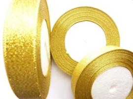 rol met 22.86 meter goud sparkle lint van 20mm breed - SUPERLAGE PRIJS!