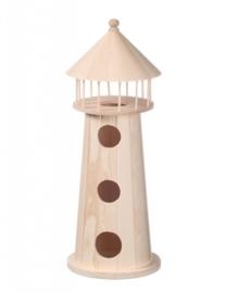 KN8735 441- 3 stuks houten vuurtorens van 11.5x32cm