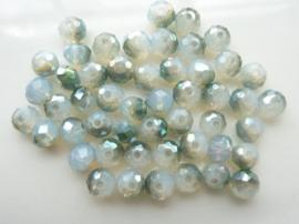 1985- 50 stuks electroplated geslepen glaskralen van 6x5mm grijs/smaragd