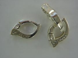 CH.029- kleine twisterclip 21x12x5mm zilver met strass