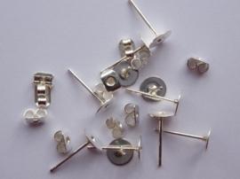 CH.849.10- 10 stuks platte oorstekers met schuifjes 6mm - SUPERLAGE PRIJS!