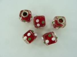 000123.B- 5 stuks groot gat glaskralen (pandora style) vierkant rood OPRUIMING