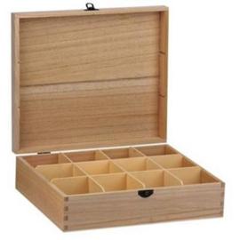 CE811720/0112- houten theekist 12-vaks 29x25x8cm paulownia