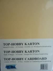 09- 20 vellen kaartkarton A5 formaat voor dubbele kaarten ca.225grams oker geel