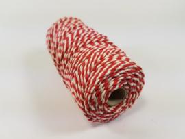 CE890030/3221- 43 mtr katoen macramé touw spoel 2mm 100grs - rood/wit