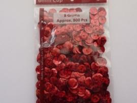 CE420001/1233- 8 gram pailletten 6mm facon glitter rood - ca.800 stuks