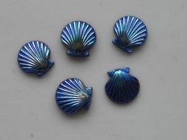 5151- 5 x schelp glas plaksteen 9x9mm oliezwart AB