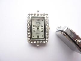 CH.001-10- 1 x horloge uurwerk met strass steentjes 20x35mm - SUPERLAGE PRIJS!