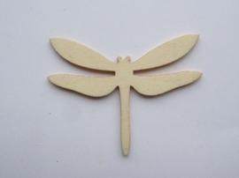 1852 2310.F- houten ornament libelle van 2mm dik en ca. 6 tot 7cm breed