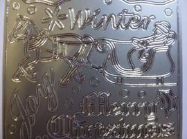 st1081- stickervel zilver met kerstafbeeldingen en tekst 10x20cm