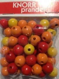 6013 002 - 50 stuks 10 mm. houten kralen rood/oranje/geel mix