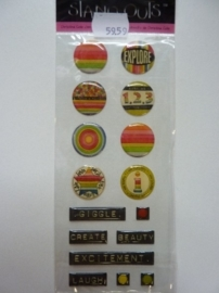5959- Provocraft stand-outs epoxy stickers zelfklevende buttons 21x8cm OPRUIMING