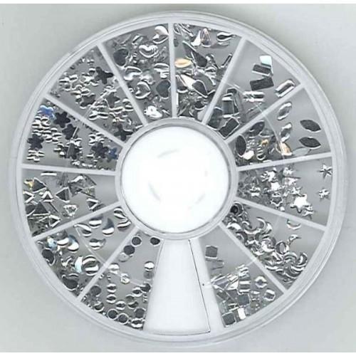 DH340000/007- doosje met nail art mini embellishments acryl clear mix