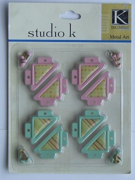 5571- Studio K photocorners roze & mint + splitpennen
