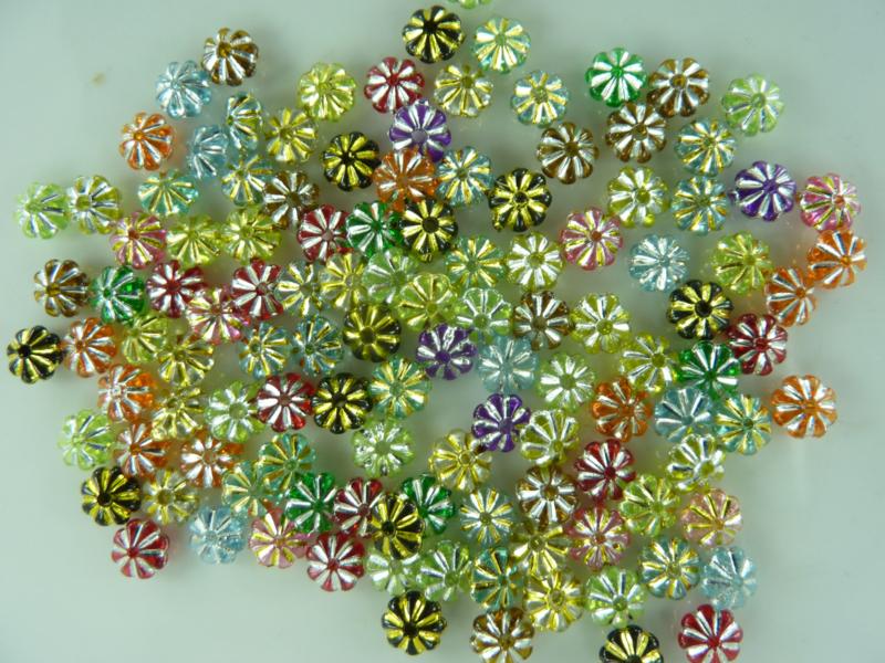 2141 - ca. 120 stuks spacers mix kunststof met zilver accenten kleurenmix