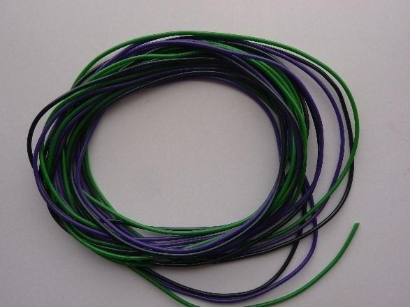 275- 3 kleuren massieve scoubidou touwtjes in zwart/paars/groen van 1.5mm dik