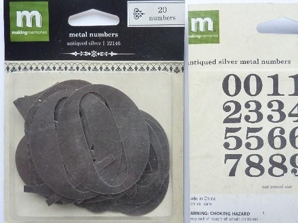 5381- 20 stuks Making Memories metalen cijfrs van 5cm hoog OPRUIMING