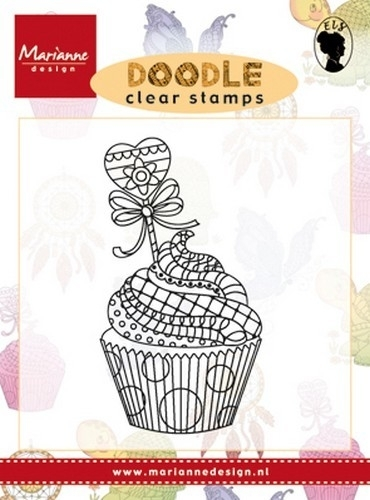 CE180016/2219- Marianne Design clearstamp doodle cupcake - EWS2219