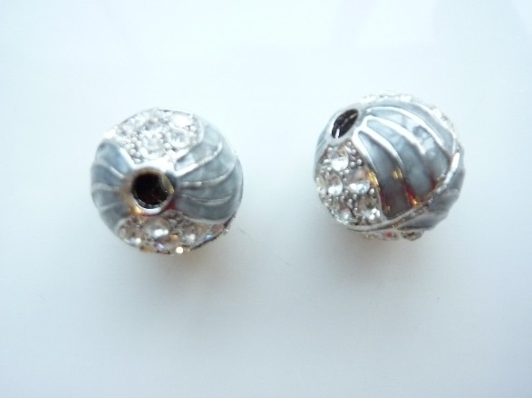 3979- emaille strassbal AA+ grijs met crystal strass steentjes 17mm - SUPERLAGE PRIJS