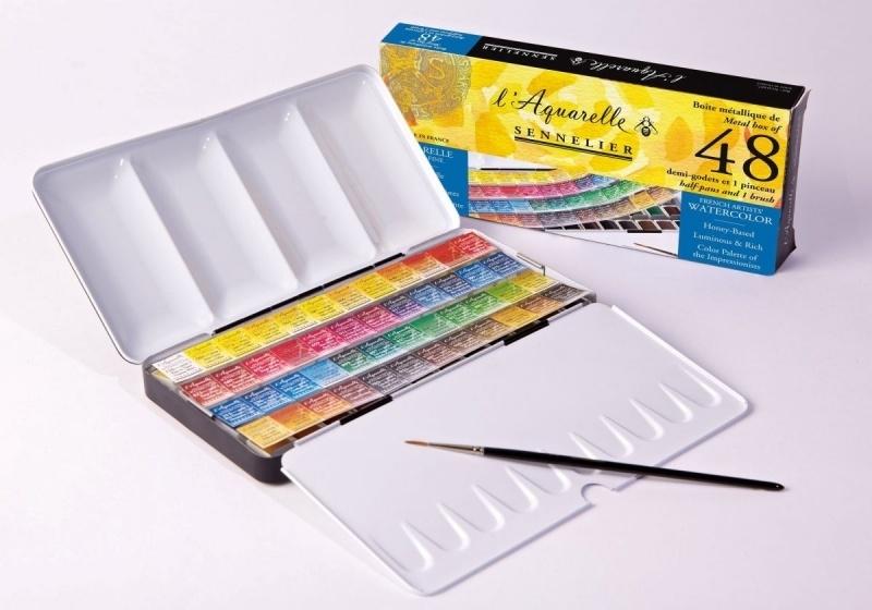 CE313113/1607- Sennelier Láquarelle set met 48 halve napjes & penseel