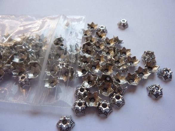 7mm zwaar metalen kralenkapjes oud zilverkleur - 100 stuks -CH.188.100- SUPERLAGE PRIJS!