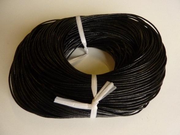 100 meter echt leren veter zwart van 2 mm. dik - AA kwaliteit - SUPERLAGE PRIJS!