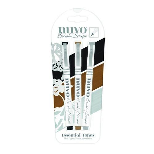 CE309908/6110- Nuvo brush script pens - essential tones 110N - 3 stuks