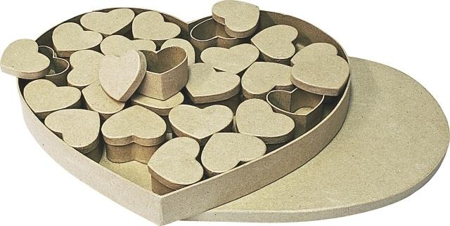 1929 3003- 24 x eco shapes in hart advent doos van papier mache 37x33x4cm