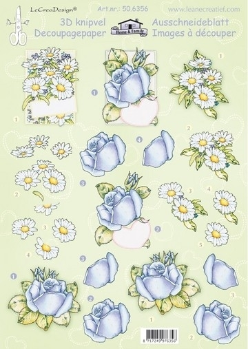 kn/2021- A4 3D knipvel Leane bloemen rozen & margrietjes - 117141/7386
