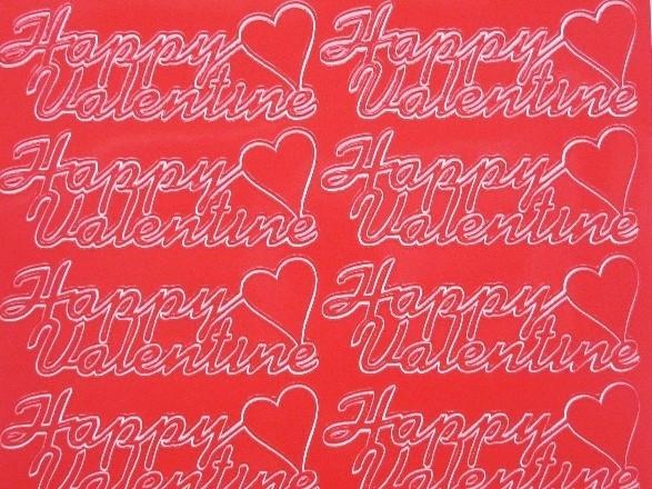 st1049- stickervel rood met engelse tekst happy valentine 10x20cm