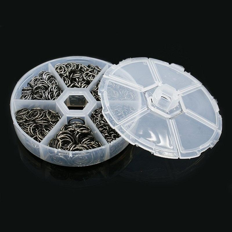 CH0039 - assortimentsdoos met 120gram ringetjes van 3.5 tot 10mm antraciet kleur - SUPERLAGE PRIJS!