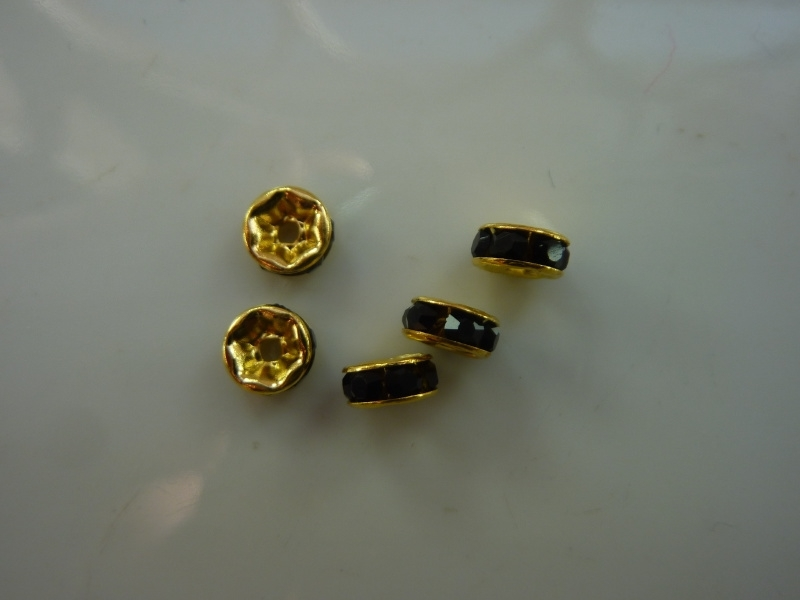 CH.036- 5 stuks A-kwaliteit strassringetjes van 6mm goudkleur - SUPERLAGE PRIJS!