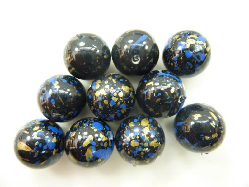00150.B- 10 stuks kunststof kralen 15mm gemarmerd blauw