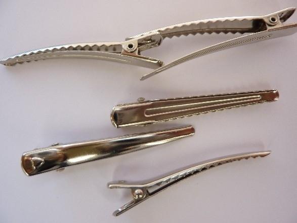 CH.0015-5- haarclip / haarklem om zelf te versieren 62x12mm staalkleur 5 stuks - SUPERLAGE PRIJS!