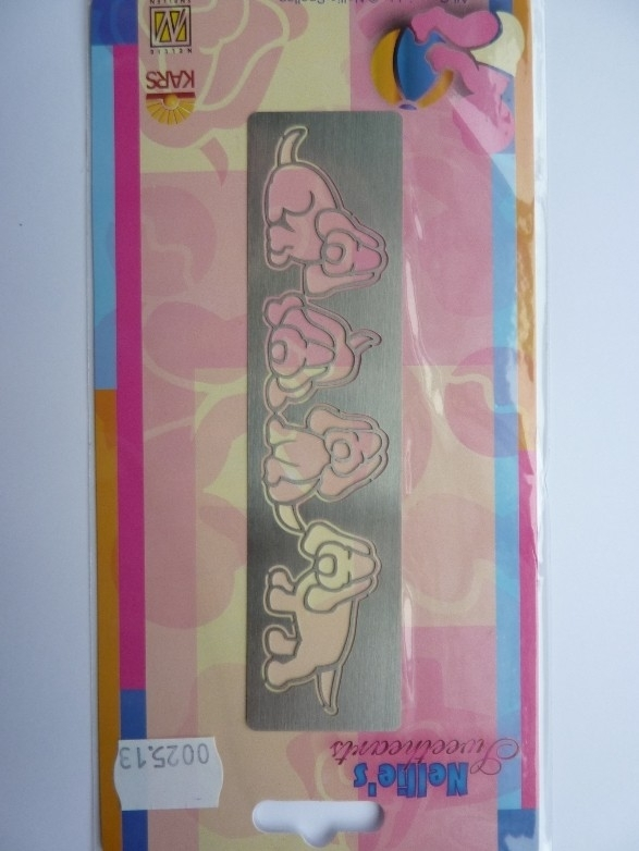 0002513- Nellie`s Sweethearts embossing mal hondjes 14x3.5cm OPRUIMING